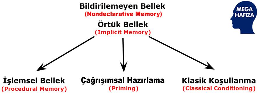 örtük bellek - dekleratif olmayan bellek - bildirilemeyen bellek - implicit memory